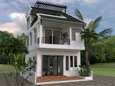 Tiny House - Drawing From and - Sketchup + Autocad Step by Step Modern Small House Design, Small House Exteriors, Simple House Design, Narrow House Plans, Small House Floor Plans, Tiny House, 1200 Sq Ft House, Plans Architecture, Bungalow House Design
