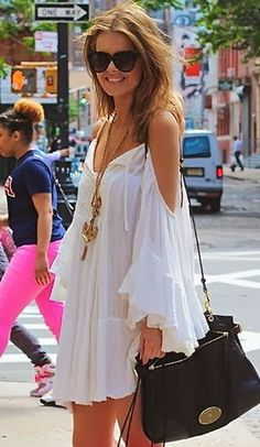 All White Summer Dress With Leather Bag