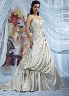 Ivory A-Line/Princess Strapless Garden/Outdoor Taffeta Wedding Dresses With Sequins WDIPBF