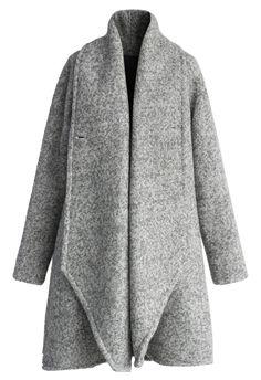 Simple Grey Flared Woolen Coat//