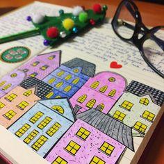 """Páči sa mi to: 42, komentáre: 4 – Dominika Imrichová (@ms_domca) na Instagrame: """"Cute houses are a MUST! vol. 2 🏠 (and also my new Christmas pen in the background 😻) 🍁🍂 🍂🍁 #journal…"""" Cute House, My Journal, Ms, Houses, Instagram Posts, Christmas, Homes, Xmas, Navidad"""