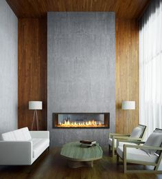 what about hanging wall Pendants by fireplace. 27 Mesmerizing minimalist fireplace ideas for your living room Fireplace Remodel, Fireplace Wall, Fireplace Surrounds, Fireplace Design, Fireplace Ideas, Foyer Mural, Two Story Fireplace, Minimalist Fireplace, Modern Foyer