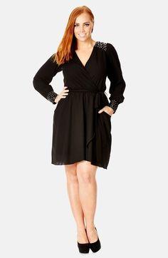 0817a5a8f5d City Chic Embellished Faux Wrap Tunic (Plus Size) Perfect Little Black Dress