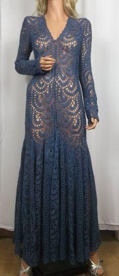 navy crochet maxi dress by ALDOARThandmade on Etsy