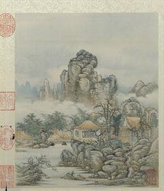 Chen Mei(陈枚) , 清 陈枚 山水楼阁图册
