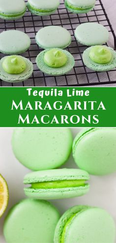 Using a tequila lime buttercream frosting, these french macarons are sprinkled with salt making them the perfect margarita themed dessert recipe for summer or celebrating Cinco de Mayo! French Macaroon Recipes, French Macaroons, Macaron Flavors, Macaron Recipe, Nutella, Delicious Desserts, Dessert Recipes, Cookie Recipes, Lemon Curd Recipe