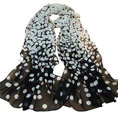 Transer ® Femelle Écharpes, Echarpe en mousseline de soie femmes Long Silk Wrap souple Lady Shawl / mousseline de soie avec Dot Print…