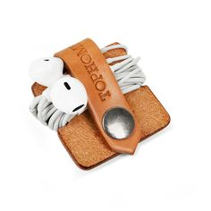 Ecouteurs casque organisateur USB câble porte à la main en cuir italien cuir véritable
