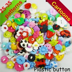 150PCS mixed color MIXED PATTERN plastic cartoons cloth  buttons  jewelry accessory P-029 $4.99