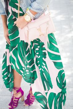 palm print dresses, palm print dress, palm printed dress, fuchsia lace up sandals, vintage denim jacket, palm tree dress, tropical print dress, tropical print maxi, summer maxi, vacation maxi, poolside maxi, pool style, beach style,  steve madden lace up heels, express tropical dress, blush pink rebecca minkoff mini mac crossbody handbag // grace wainwright from a southern drawl