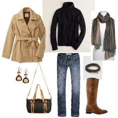 Camel and Black, created by #bluehydrangea on #polyvore. #fashion #style J.Crew Old Navy