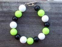 GREEN, BLACK, WHITE Halloween bracelet