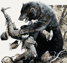 """Famous mountain man Hugh Glass being mauled by a bear. Hugh Glass' harrowing story was the inspiration for the film """"The Revenant."""""""