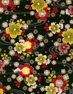 Floating Cherry Blossoms Black Metallic - Diary of A Geisha Collection - Studio e 2812M-99 (sold by the 1/2 yard)