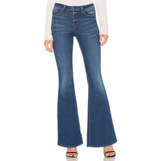 L'AGENCE Solana Flare Jean (158.475 CLP) ❤ liked on Polyvore featuring jeans, frayed flare jeans, faded jeans, faded blue jeans, flared jeans and flare jeans