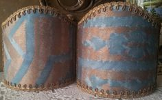 Pair of  Wall Sconce Clip-On Shield Shades Fortuny Fabric Antique Green & Copper Altare Pattern Half Lampshade - Handmade in Italy by OggettiVeneziani on Etsy