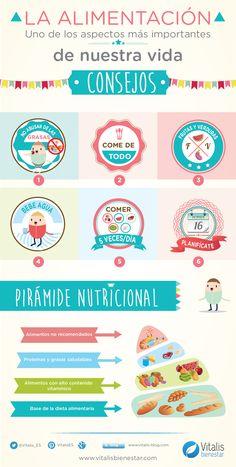 7 consejos para llevar una alimentación saludable. ¿Qué alimentos hay que comer? ¿En qué cantidad? Te contamos qué debes hacer para conseguirlo. #infografia #infographic #diamundialdelaalimentacion