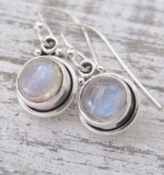 Moonstone Earrings, Rainbow Moonstone, Sterling Silver Moonstone, Round Dangling Moonstone Earrings, Moonstone Jewelry by pinkingedgedesigns on Etsy https://www.etsy.com/listing/184448571/moonstone-earrings-rainbow-moonstone