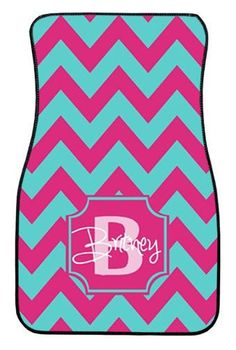 I LOVEEEE THESE!!  Turquoise and Pink Wide Chevron Personalized Car Mats, Monogrammed Car Mats, Custom Car Mats, Monogrammed Car Accessory, Front Car Mats on Etsy, $75.00