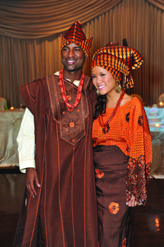 Intercultural wedding: Groom is Nigerian, Bride is Chinese. Beautiful blending of traditions, and what a gorgeous couple! I love this.