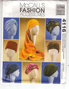 Turbans Headwrap Hats 7 Different Styles McCalls 4116 Sewing Pattern S-L Uncut