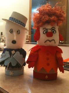 I made these guys. these are suppose to be the guys from the year without santa claus. Heat miser and Freeze miser