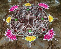 Rangoli Borders, Rangoli Border Designs, Rangoli Designs Diwali, Rangoli Designs Images, Beautiful Rangoli Designs, Rangoli With Dots, Simple Rangoli, Colour Rangoli, Tribal Home Decor