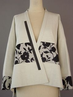 Round Neck Vest Jacket in Off White and Black with Brocade Accent