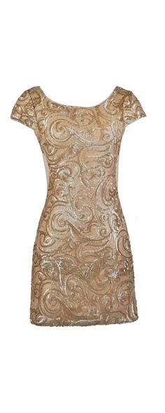 25a1949076cd Lily Boutique Swirls of Gold Capsleeve Sequin Party Dress