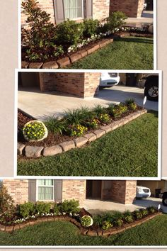 Simple front flower bed and edging idea.