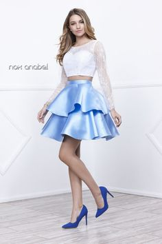N 6290 - Lace Long-Sleeved Two-Piece with Layered Satin Skirt