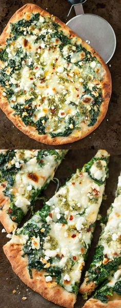 Three Cheese Pesto Spinach Flatbread Pizza - Aiming to eat more veggies? This Three Cheese Pesto Spinach Flatbread Pizza packs an entire box of - Pesto Pizza, Pesto Spinach, Spinach Pizza, Veggie Pizza, Fun Easy Recipes, Quick Easy Meals, Healthy Recipes, Naan, Vegetarian Pizza Recipe