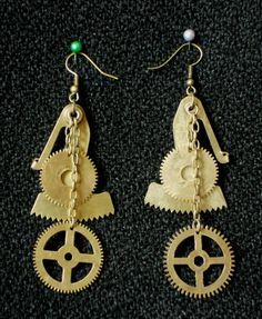 Steampunk Earrings Brass Cogs Clock Parts by SteampunkRelics on Etsy