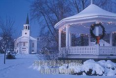 church gazebo chapel christmas decorations holiday winter scene snow town vermont first baptist church gazebo green decorated for christmas holiday season snow covered night village bristol addison county state vermont Old Time Christmas, Christmas Scenes, Country Christmas, Christmas And New Year, All Things Christmas, Winter Christmas, Christmas Lights, Celebrating Christmas, Winter Snow