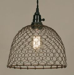 """Lamp is 10"""" dia. and 10¾"""" tall including socket. Plugs into any wall outlet. Shown with our 40 watt vintage bulb, not included. Our pendant lamps include it all: 15½ foot cloth-covered lamp cord with"""