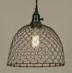 Chicken Wire Dome Pendant Light - Primitive Rust