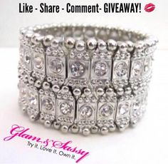 """⭐Like - Share - Comment - Giveaway! Follow Glam & Sassy on IG, FB, Twitter & Pinterest and tag, comment or share each post for a chance to win this """"Ice Queen"""" bracelet pictured here! (Each counts as one entry on each platform). The winner will be chosen and DM-ed to obtain name and shipping info. No refunds or exchanges on prizes. Winner picked this Friday announced next Monday. We wish you the best of luck! glamandsassy.com  #ShowYourSparkle ✨ #GlamAndSassy  #Giveaway"""