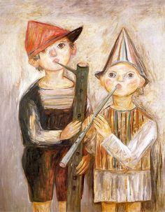 Chlopcy z fujarkami / Boys with pipes by Tadeusz Makowski. Medium: Oil on canvas; Musa, Kids Playing, Surrealism, Poland, Art For Kids, Oil On Canvas, Childhood, Boys, Artwork