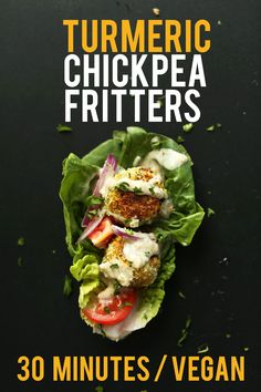 DELICIOUS 30 Minute TURMERIC Chickpea Fritters! Little falafel like pillows of bliss and SO healthy! #healthy #vegan #recipe #chickpea #dinner #meal