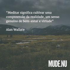 """""""Meditar significa cultivar uma compreensão da realidade, um senso genuíno de bem-estar e virtude. Assim, meditação é um processo gradual de treinamento da mente e leva ao objetivo da contemplação, onde se ganha discernimento sobre a natureza da realidade"""" ~ Alan Wallace"""