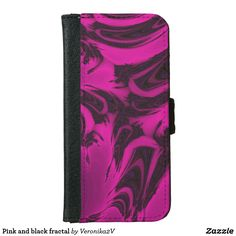 Pink and black fractal iPhone 6/6s wallet case, photo, photography, artwork, buy, sale, gift ideas, pink, black, spots, fractal, magenta, bright, purple, colorful, dark, abstract,  wallet, wallets, skin, skins, case, cases, gadget, gadgets, decor, design,  apple, phone, phones,  iphone, samsung
