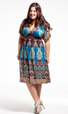 Victoria Dress (Warm Spice) in Blue by SWAK Designs. Love the pattern, the colors, the sleeves- everything.