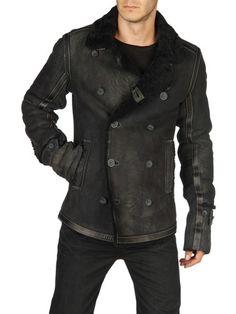 Sheepskin black leather jacket by Diesel - Mens Wear Today