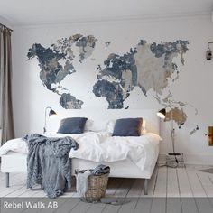 Weltkarte als Fototapete im Schlafzimmer #Wohnidee