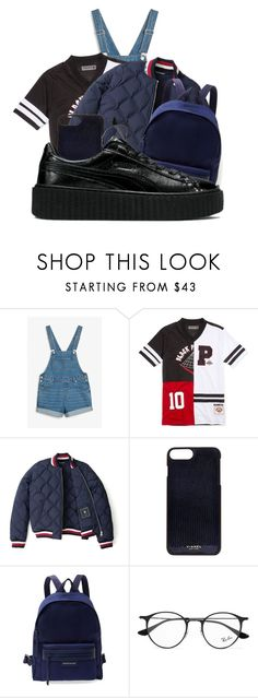 """""""Red × Black × White × Blue × Puma"""" by anariebreezy ❤ liked on Polyvore featuring Monki, Black Pyramid, Tommy Hilfiger, Vianel, Longchamp, Ray-Ban and Puma"""