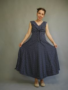 Casual sleeveless summer dress in Navy with white ditsy print Vintage Maxi dress with tie top Straight Leg Pants, Navy And White, Summer Dresses, Pretty, Casual, How To Wear, Vintage, Products, Fashion