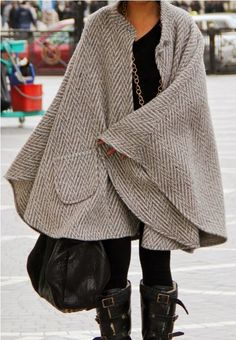 Long Cape With Leather Boots and Handbag