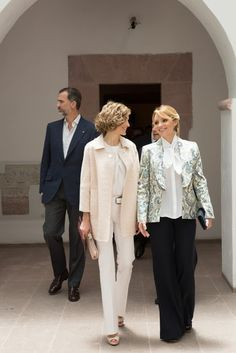 Queen Letizia of Spain and King Felipe of Spain, Mexican President Enrique Pena Nieto and his wife Angelica Rivera visit the colonial Museum of Guadalupe in Guadalupe, Zacatecas, Mexico, on July 1, 2015.