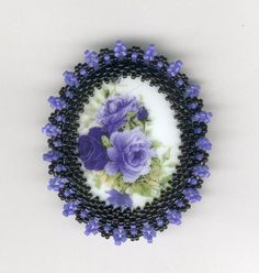 Beaded Brooch Pin-Necklace Purple Flowers Purple and by FoxyMomma