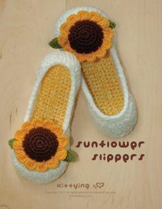 Sunflower Women's House Slipper Crochet Pattern, Instant PDF Download - Women's sizes 5 - 10 - Chart & Written Pattern